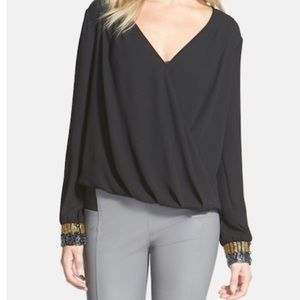 ASTR black blouse with embellished cuffs